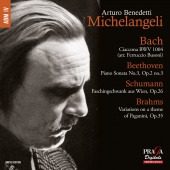 Album artwork for Piano Works by Bach, Brahms & Schumann. Michelange
