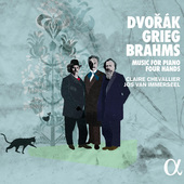 Album artwork for Dvorák, Grieg, Brahms: Music for Piano Four Hands