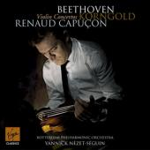 Album artwork for Beethoven & Korngold Violin Concerti / Capucon