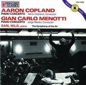 Album artwork for Piano Concertos by Copland and Menotti / Earl Wild