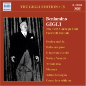 Album artwork for GIGLI - THE 1955 CARNEGIE HALL FAREWELL RECITALS