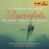 Album artwork for BRAHMS: QUARTETS FOR FOUR VOICES AND PIANO